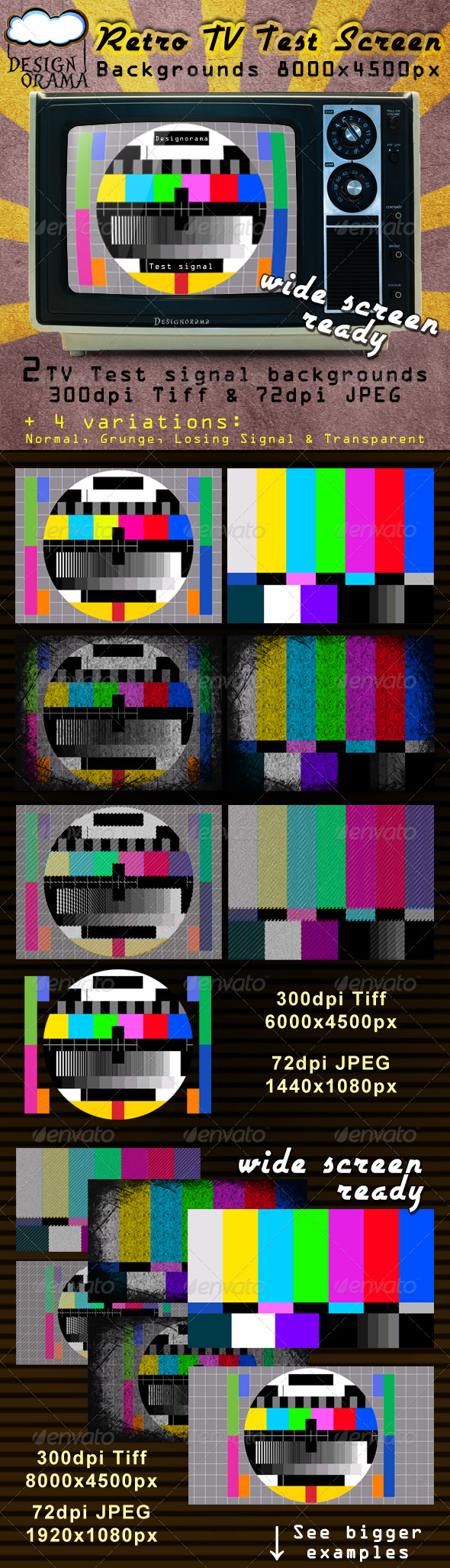 Retro TV Test Screen - Backgrounds Graphics