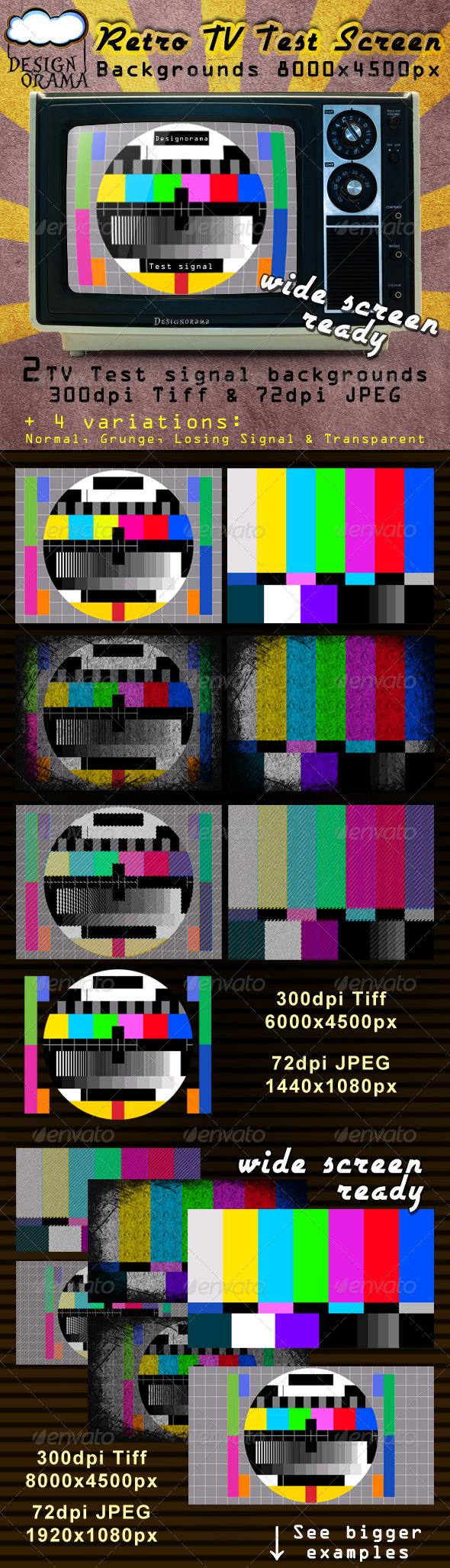 Retro TV Test Screen - Backgrounds Graphics