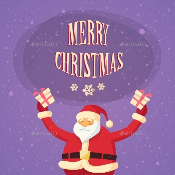 Santa Clause Hold Gift Box Present Merry Christmas - Christmas Seasons/Holidays