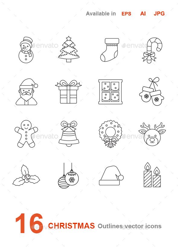 Christmas outlines vector icons - Seasonal Icons