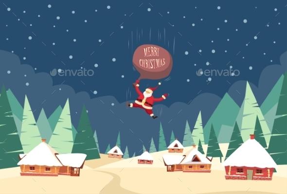 Santa Claus Fall Down Fly Sky Roof Top House Bag - Christmas Seasons/Holidays