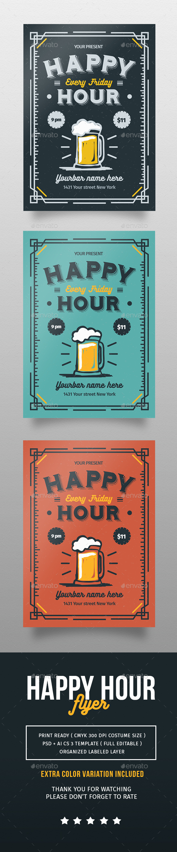 Happy Hour Flyer - Flyers Print Templates
