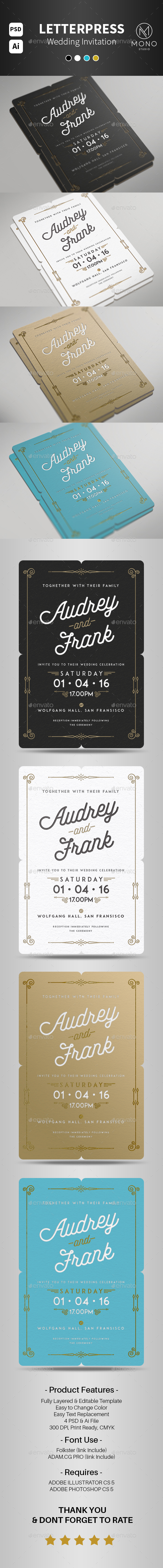 Letterpress Wedding Invitation - Weddings Cards & Invites