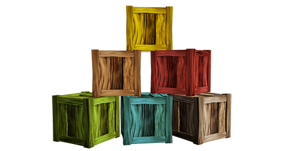 Wooden crate lowpoly  - 3DOcean Item for Sale