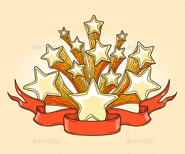 Doodle Gold Stars and Red Banner - Decorative Vectors
