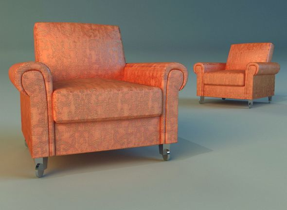 Chair velor on wheels - 3DOcean Item for Sale