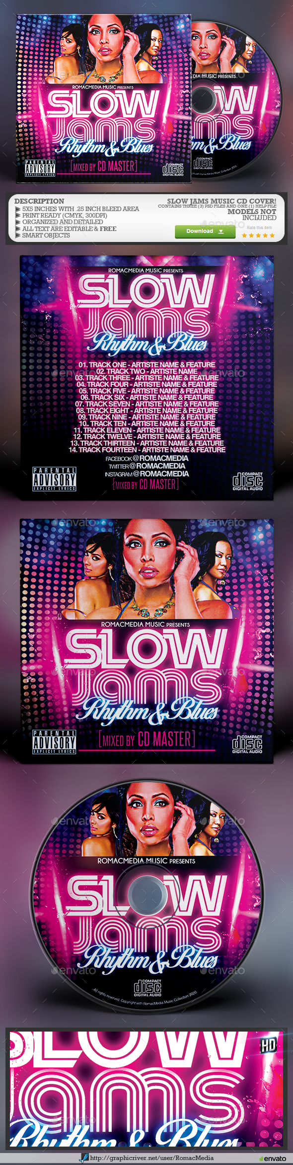 Slow Jams RnB Music CD Cover - CD & DVD Artwork Print Templates