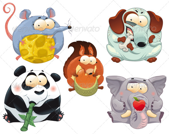 Group of funny animals with food. - Animals Characters