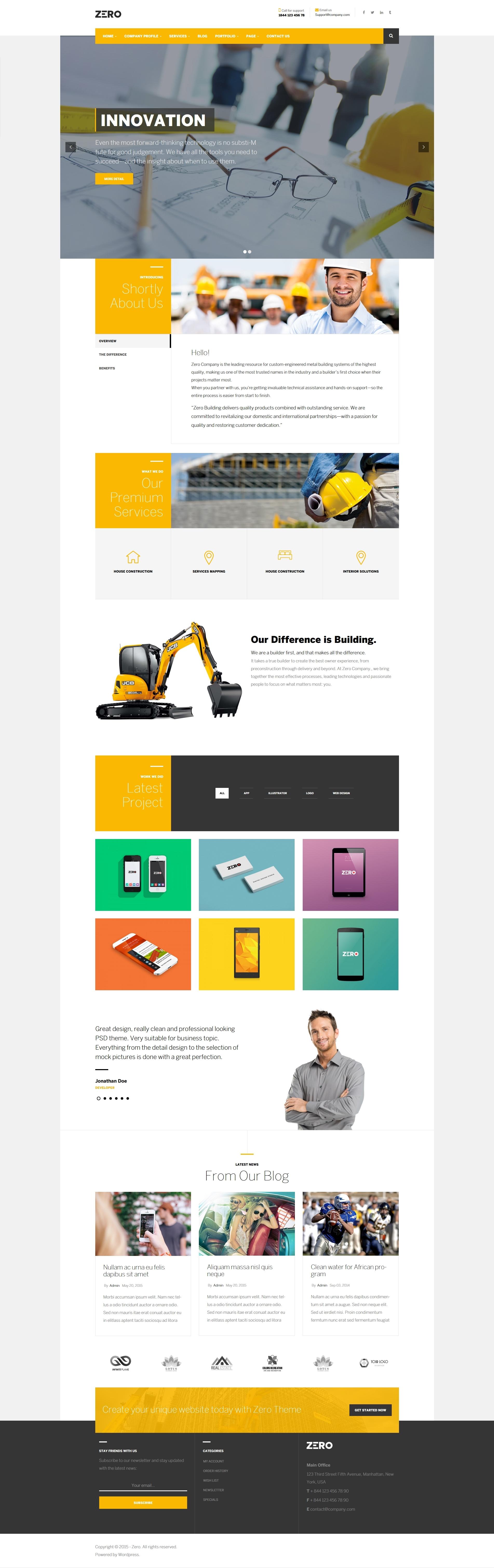 Zero Corporate Creative Wordpress Theme By Opal Wp