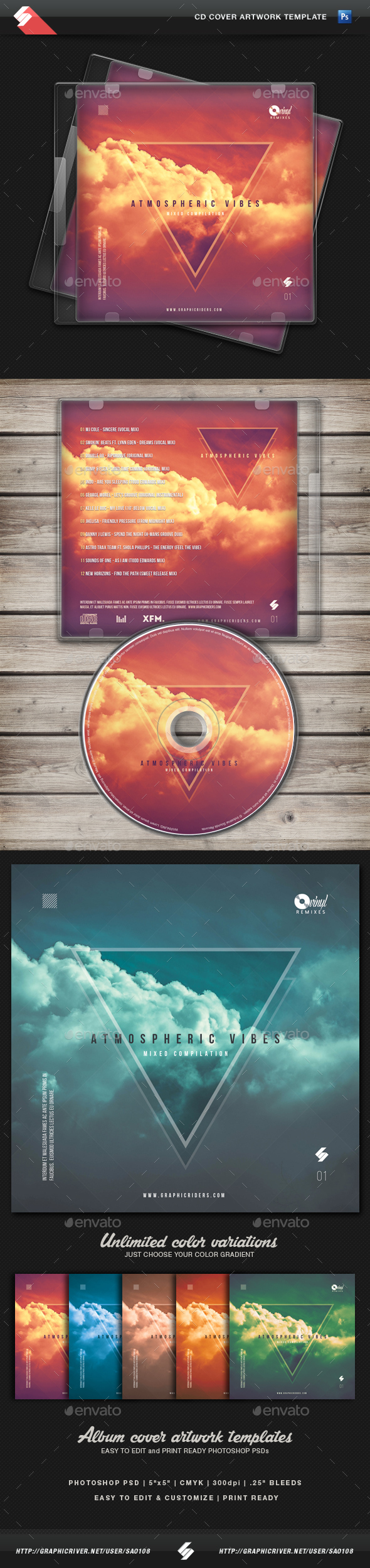 Atmospheric Vibes - CD Cover Artwork Template - CD & DVD Artwork Print Templates