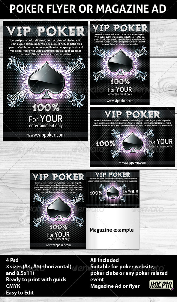 Poker Magazine Ads or flyers Template - Sports Events