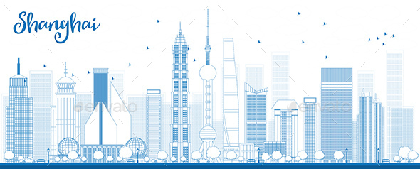 Outline Shanghai Skyline with Blue Skyscrapers - Buildings Objects