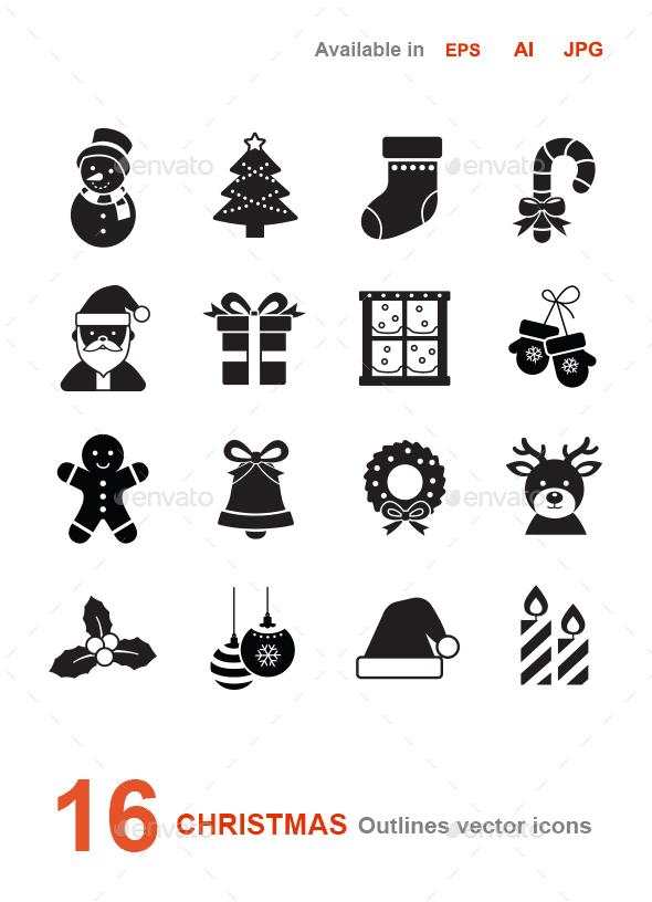 Christmas glyph vector icons - Seasonal Icons