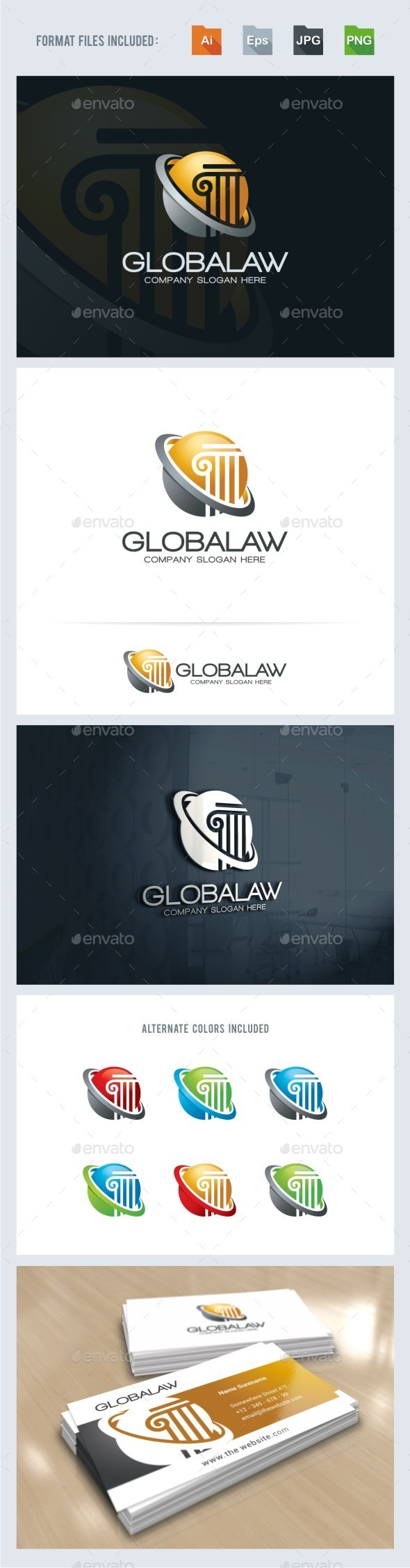 Global Law Firm Logo Template - Symbols Logo Templates