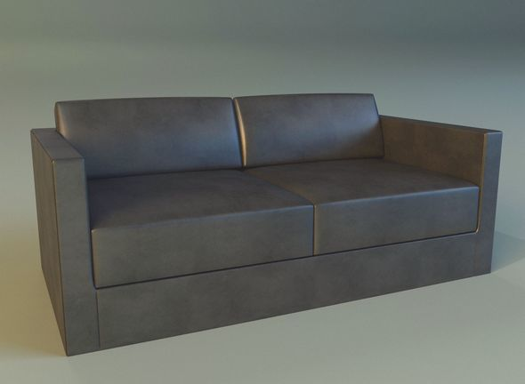 Sofa leather black modern - 3DOcean Item for Sale