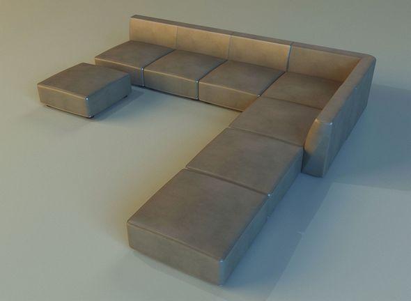 Leather corner sofa big - 3DOcean Item for Sale