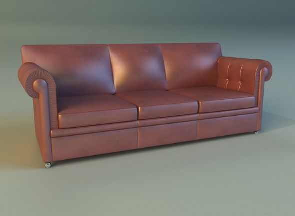 Sofa leather classic red - 3DOcean Item for Sale