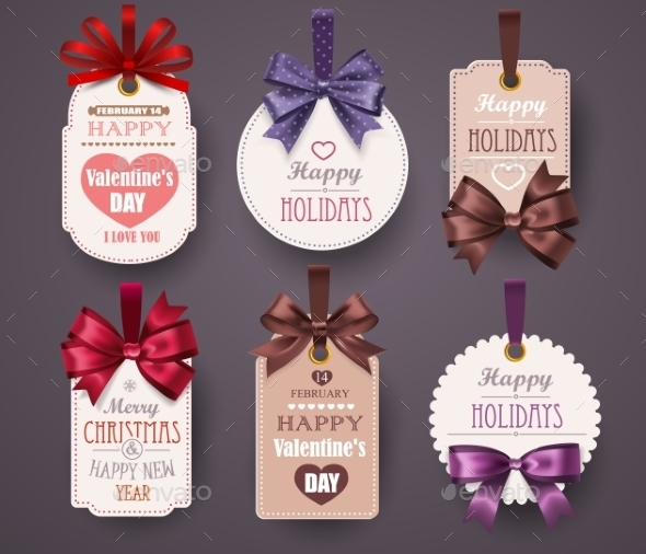 Retro Labels with Bows - Valentines Seasons/Holidays