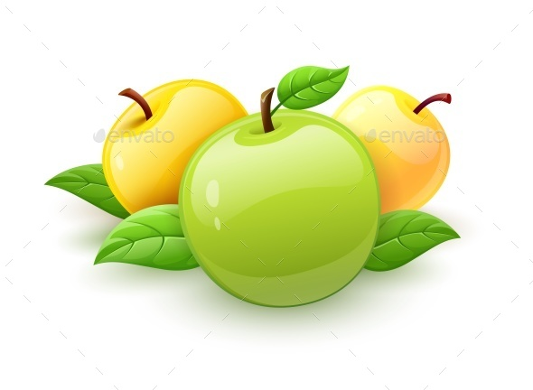 Apple Fruits with Green Leaves - Food Objects