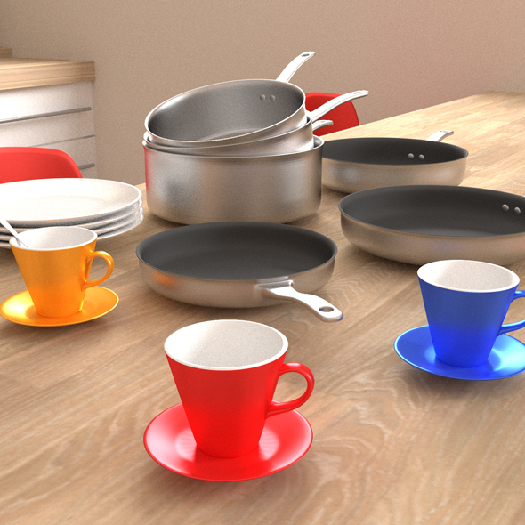 Kitchen kit - cooking pot, stove, plate and mugs - 3DOcean Item for Sale