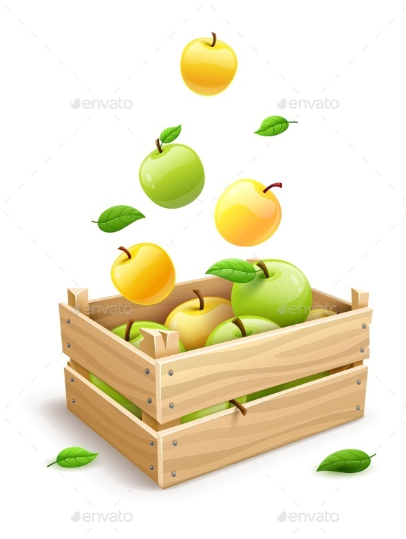 Apple Fruits Falling into the Wooden Box - Food Objects