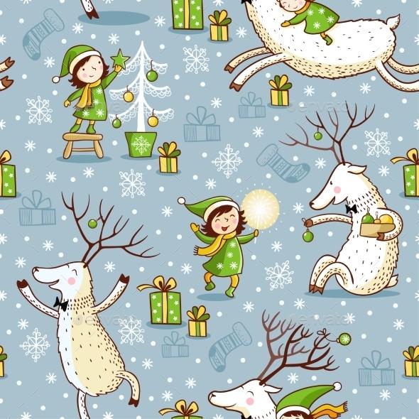 Seamless Pattern with Girl and Deer - Christmas Seasons/Holidays