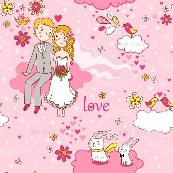 Cartoon Romantic Seamless Pattern - Weddings Seasons/Holidays