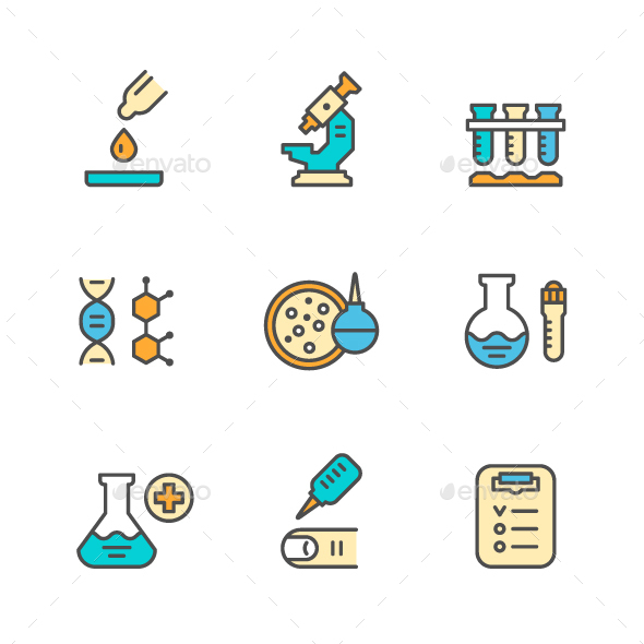 Set Color Line Icons of Medical Analysis - Man-made objects Objects
