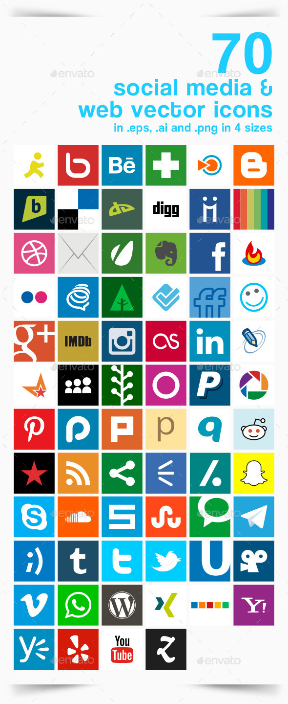 70 Social Media and Web Vector Icons - Web Elements Vectors