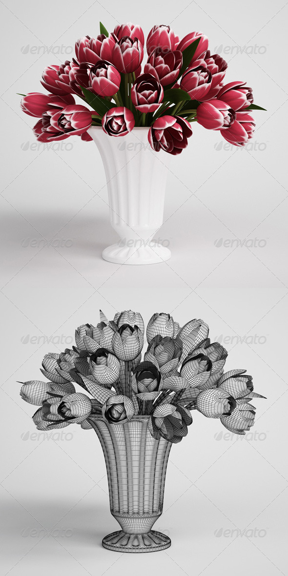 CGAxis Tulip Bouquet in Vase 16 - 3DOcean Item for Sale