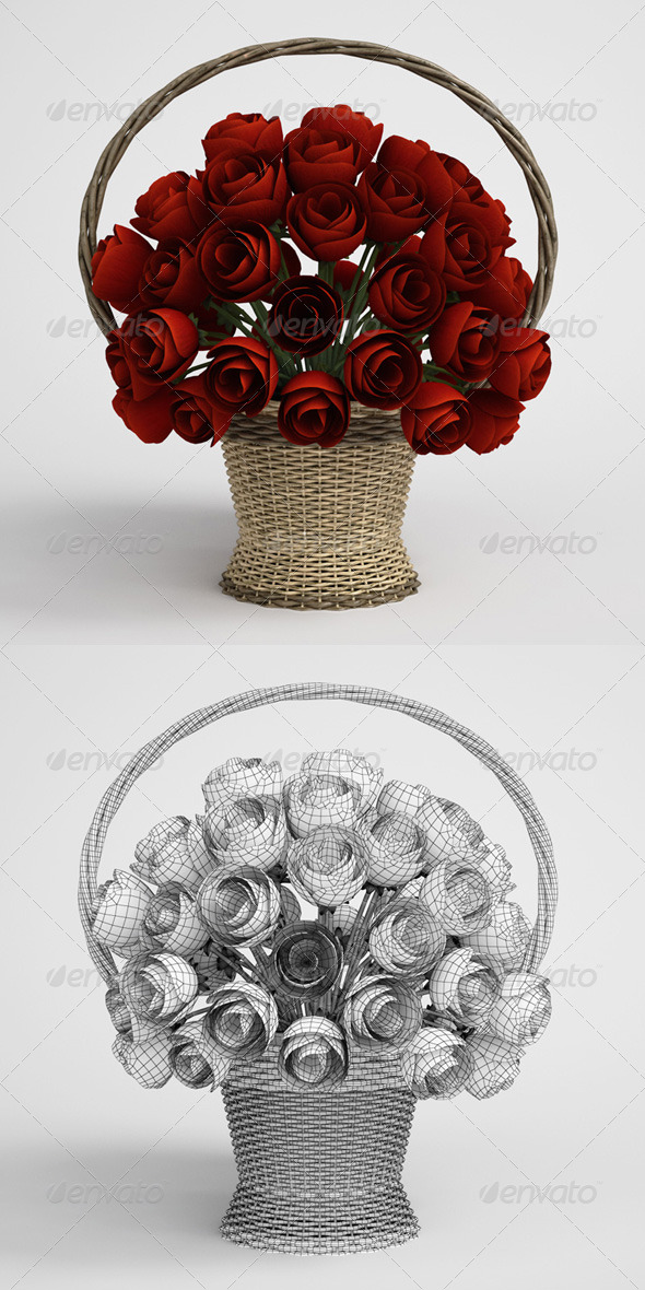 CGAxis Floral Bouquet in Basket 17 - 3DOcean Item for Sale