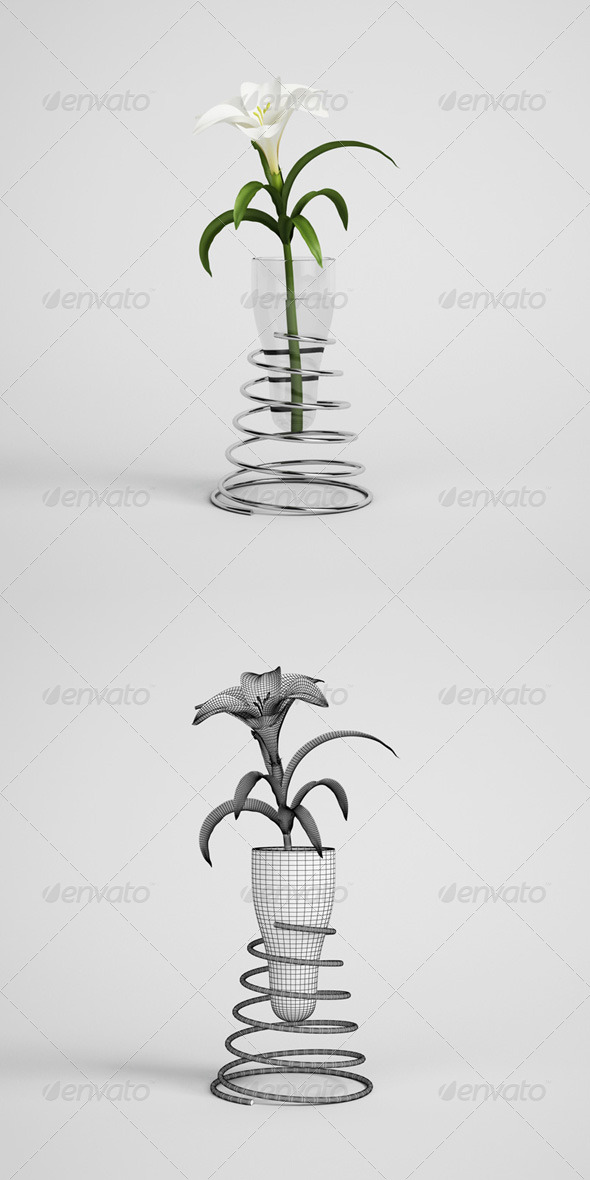 CGAxis Lily in Modern Vase 21 - 3DOcean Item for Sale