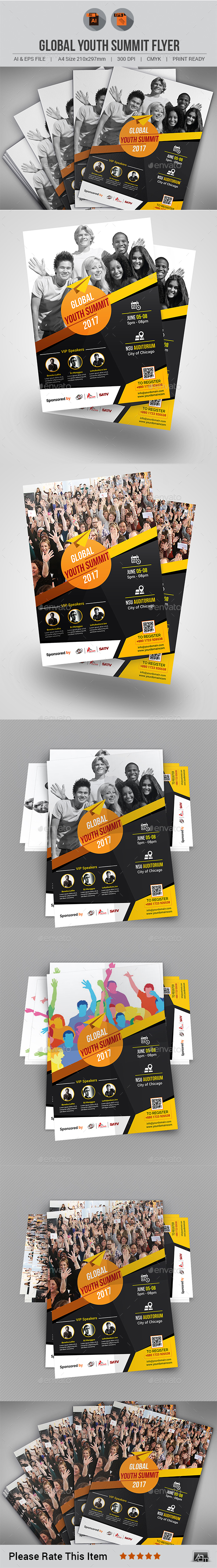 Global Youth Summit Flyer Template - Events Flyers