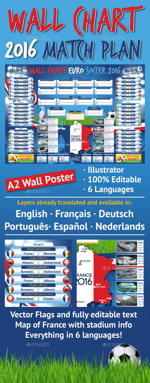 France 2016 Soccer Wallchart Matchplan - Sports Events