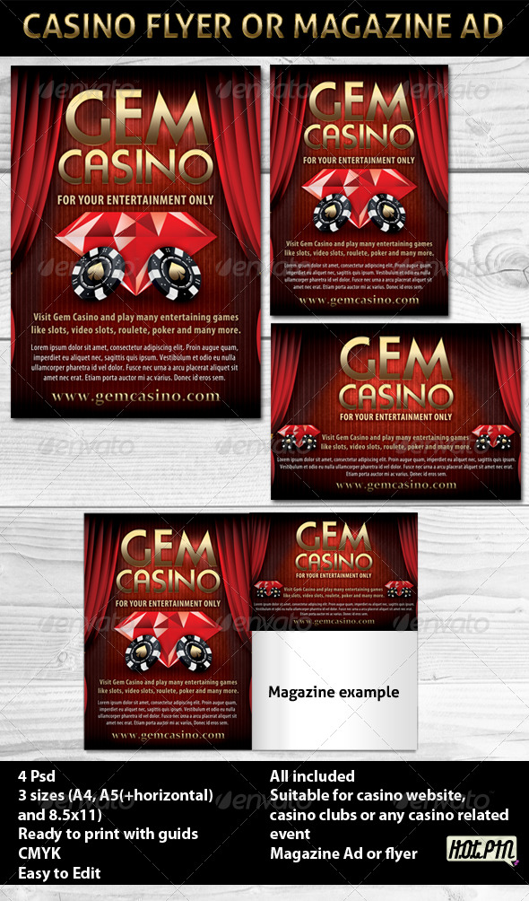 Casino Magazine Ads or Flyers Template - Sports Events