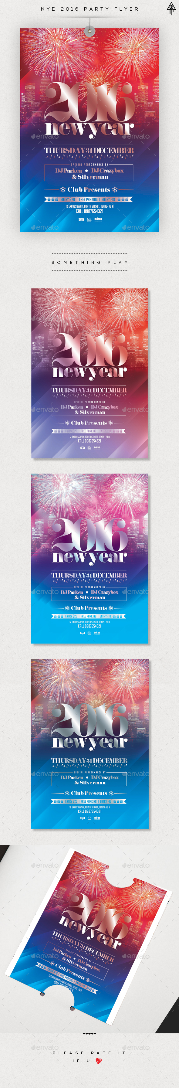 2016 New Year Flyer Template  - Clubs & Parties Events