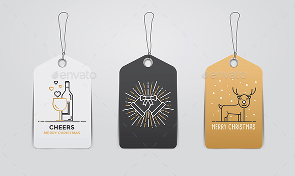 Collection of Christmas and New Year Gift Tags - Christmas Seasons/Holidays