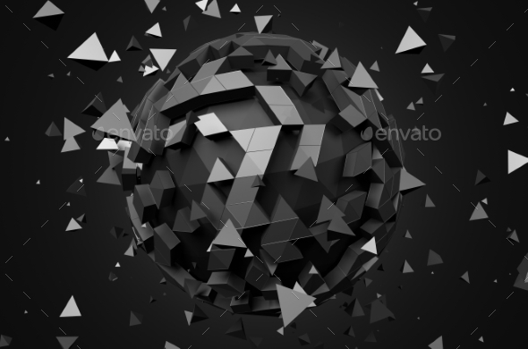 Rendering Of Sphere With Chaotic Particles. - Abstract 3D Renders