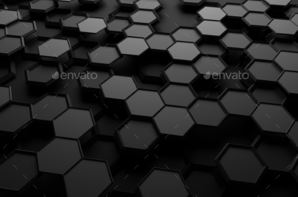 Abstract 3D Rendering Of Surface With Hexagons. - Abstract Backgrounds
