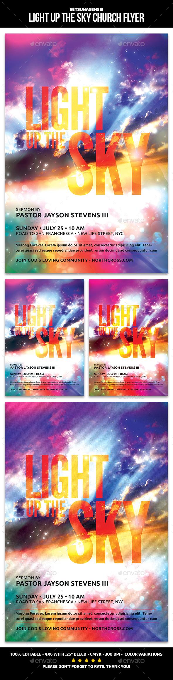 Light Up The Sky Church Flyer - Church Flyers