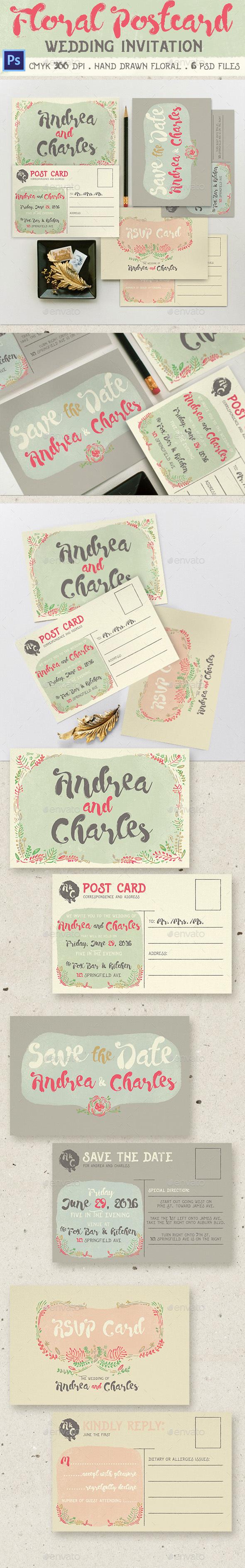 Floral Postcard Wedding Invitation - Weddings Cards & Invites