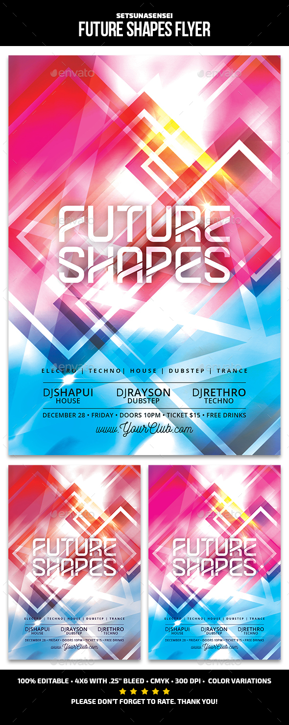 Future Shapes Flyer - Clubs & Parties Events