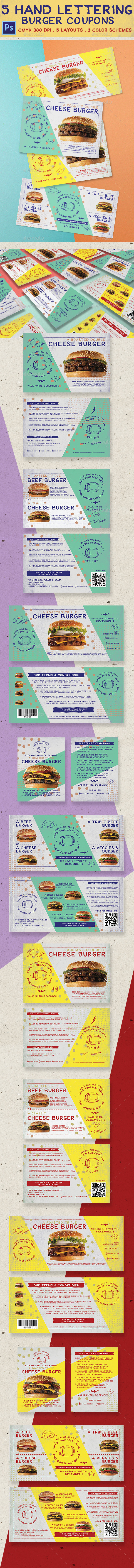 5 Fun Hand Lettering Burger Coupon - Loyalty Cards Cards & Invites