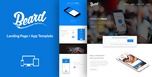 Beard App Landing Page HTML Template By Lumberjacks ThemeForest - Landing page html template