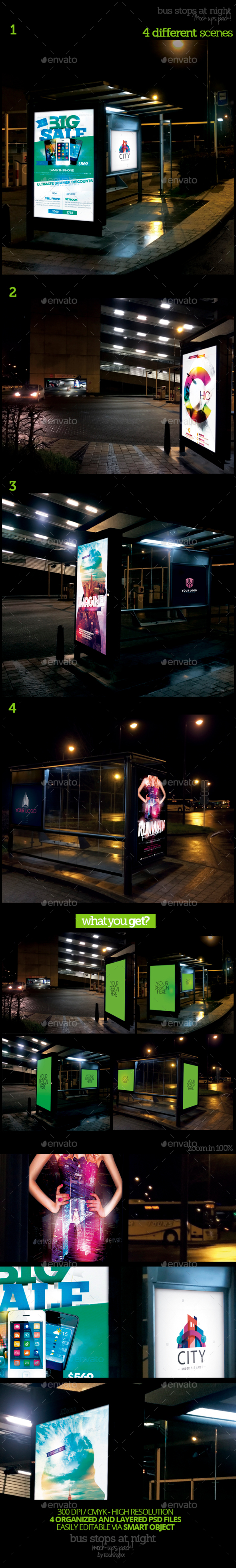 Bus Stops At Night Mock-Ups Pack - Product Mock-Ups Graphics