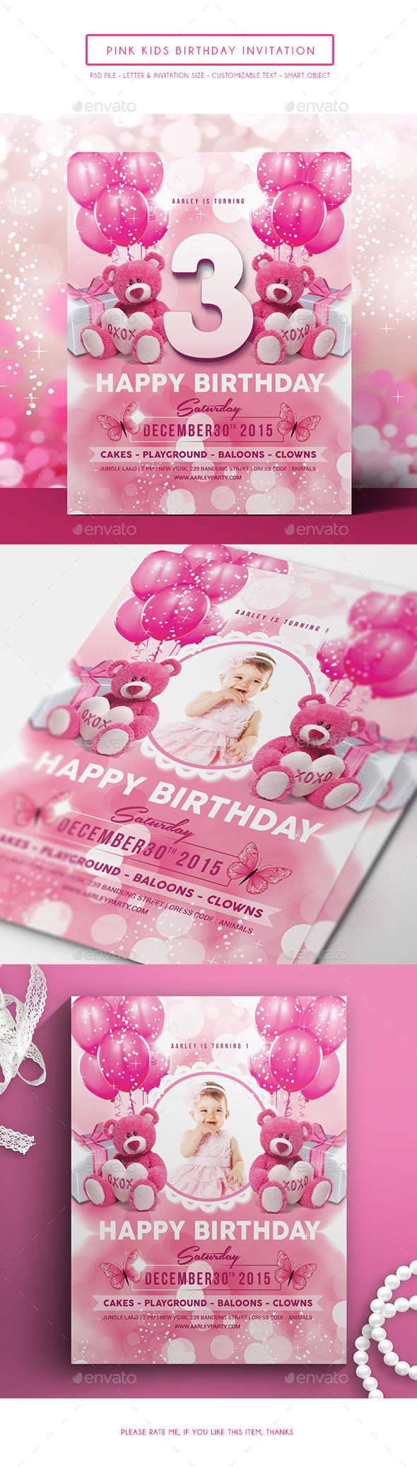 Pink Kids Birthday Invitation - Birthday Greeting Cards