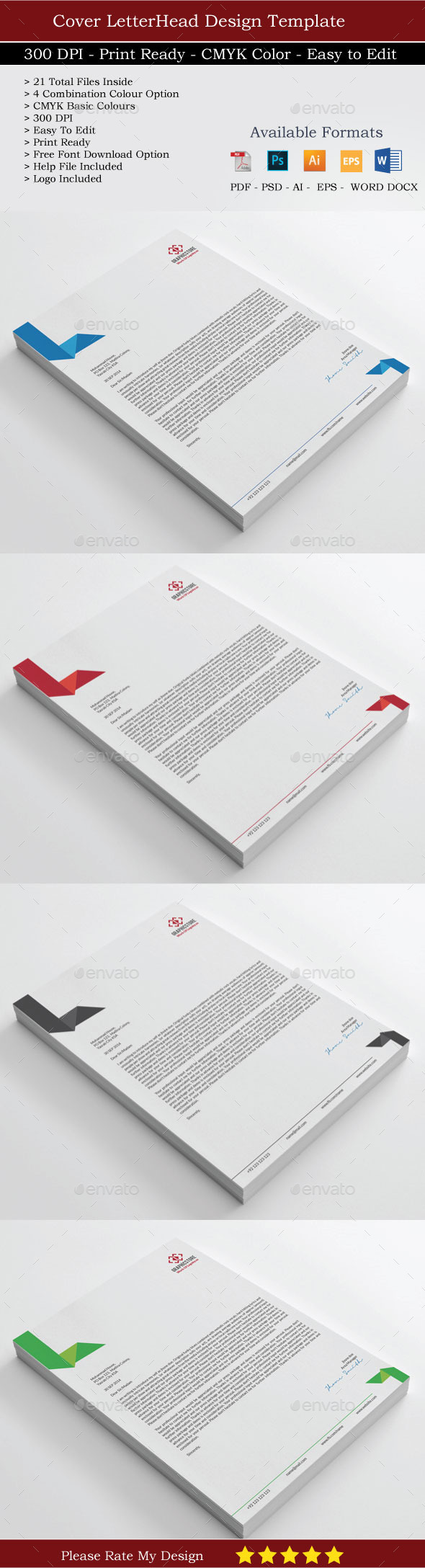 20 Elegant Clean Corporate2 Identity Letterheads - Stationery Print Templates