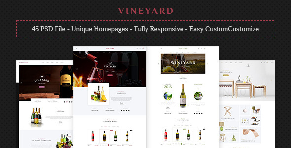 VINEYARD - E-Commerce and Blog PSD Theme