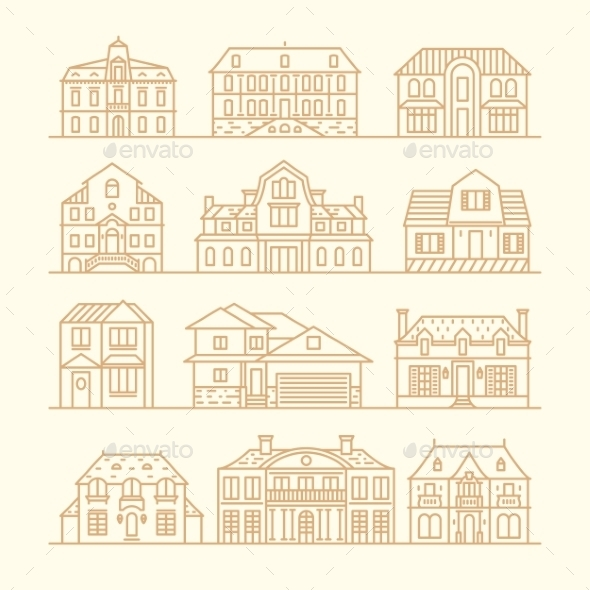 Set of House Icons - Buildings Objects