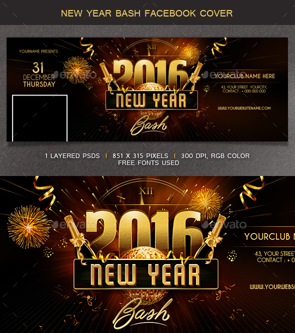 New Year Bash Facebook Cover - Facebook Timeline Covers Social Media